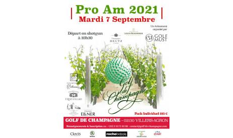 Retour d'un grand succès : le ProAm du Golf de Champagne ! Suite aux circonstances, c'est le Mardi 7 Septembre, à la veille des vendanges que nous le célébrons !